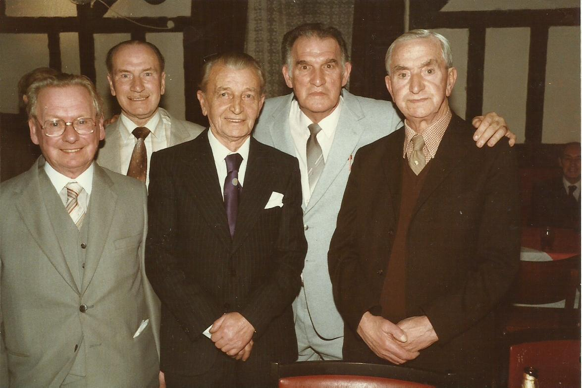Bert Taylor and four Cables greats at the 1984 Centenary Dinner